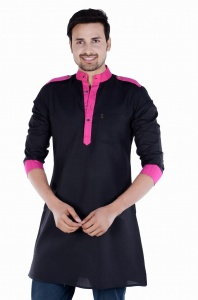 S9 Men Black & Pink Solid Straight Kurta