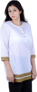 Casual Solid Women's Kurti  (White)_SRK 002