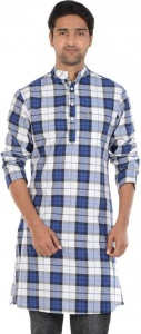 S9 MEN Checkered Men's A-line Kurta  (Blue, White, Black) S9-MK-602O