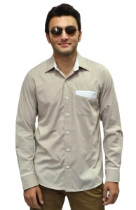 S9 Men Poly Cotton Formal Shirt For Men (Bisuit White) S9-FS-106B
