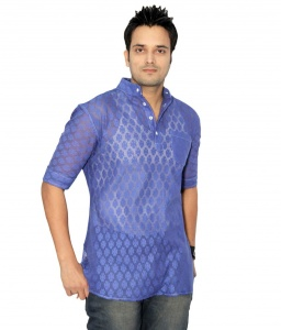 S9 Men Navy Blue Net Self Design Kurta