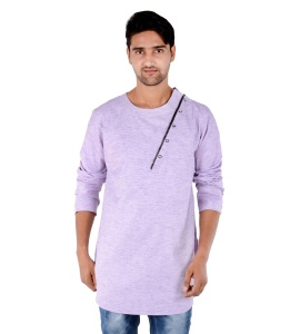 S9 Men Purple Self Textured Angrakha Kurta