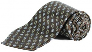 Uni Carress Geometric Print Men's Tie (Brown) RA-TY-103E