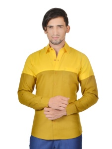 S9 Men Solid Formal Cotton Blend Party Shirt For Men(Yellow Mustard)  -S9-FS-252D