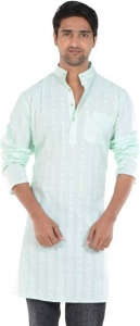 S9 MEN Embroidered Men's A-line Kurta  (Light Green) S9-MK-606A