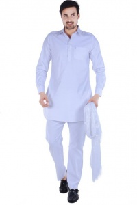 S9 Men White Solid Pathani Kurta