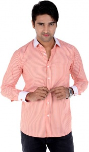 S9 Men's Solid, Striped Formal Shirt (Orange, White) S9-FS-209C
