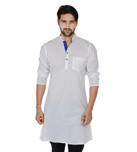 S9 Men White & Blue Dot Solid Straight Kurta