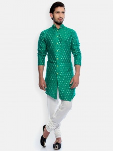 S9 Men Green & Golden Jacquard Woven Designer Kurta  with white Churidaar Pajama