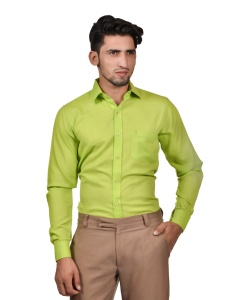S9 Men Solid Formal Cotton Blend Shirt For Men(Fresh Green)  -S9-FS-253E2