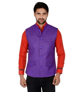 Forge'ko Economical Self Design Men's Purple Waistcoat