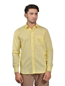 S9 Men Solid Casual ,Formal Cotton Blend Shirt For Men(Yellow)  -S9-FS-253C Casual