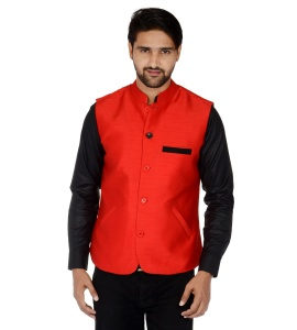Forge'ko Economical Self Design Men's Waistcoat (Bright Red) FO-M-WC-220A