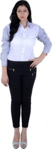 S9 Women's Checkered, Solid Casual White, Blue, Black, Brown Shirt_S9-W-FS-2006_White, Blue, Black, Brown