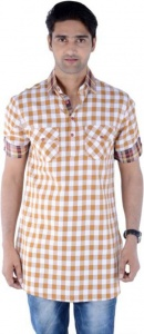 S9 Men Beige & White Checked Pathani Kurta