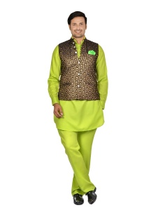 Forge'ko Black Gold with Lime Green Pathani Kurta Pyjama Jacket Set