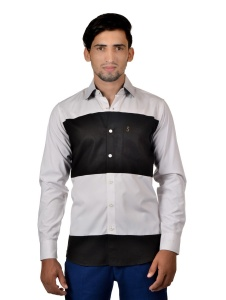 S9 Men Solid Formal Cotton Blend Shirt For Men(White Black)  -S9-FS-251E