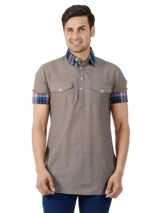 S9 Men Solid Men Half Sleeve Shirt Collar Kurta (Brown-Blue) S9-MK-18Z-C