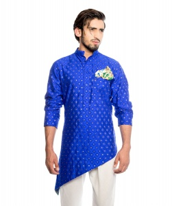 S9 Men Royal Blue & Golden Jacquard Woven Diagonal Cut Kurta  with Printed Pocket Square