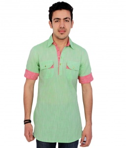 S9 Men Light Green Pathani Straight Kurta