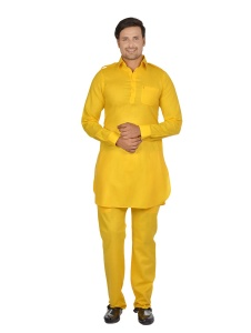 S9 Men Dark Yellow Solid Pathani Kurta Pyjama
