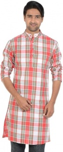 S9 MEN Checkered Men's A-line Kurta  (Multicolor) S9-MK-602G