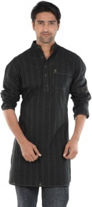 S9 MEN Embroidered Men's A-line Kurta  (Black) S9-MK-610A