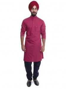 S9 Men Rasberry Kurta Pyjama Set