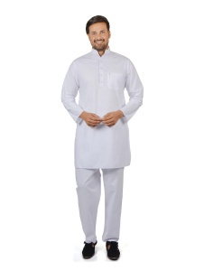 S9 Men Parthi White Color Pathani Suit Kurta Pyjama