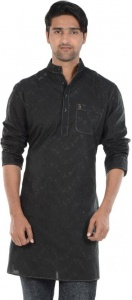S9 MEN Embroidered Men's A-line Kurta  (Black) S9-MK-610C