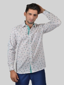 S9 Men Solid Casual, Semi-Formal Polyester Blend Shirt For Men(Teal Grey White)  -S9-FS-220D