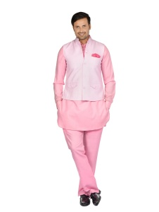 Forge'ko Men'Light Pink jacket Set with Dark Pink Solid Pathani Kurta S9-M-PKSET-04A