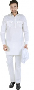 S9 Men Ivory White Solid Pathani Kurta