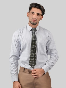 S9 Men Solid Formal Polyester Blend Shirt For Men(White Grey)  -S9-FS-370A COMBO