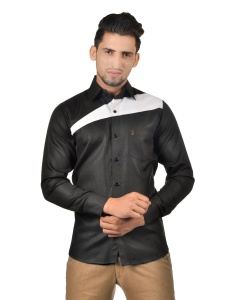 S9 Men Solid Party Cotton Blend Shirt For Men(Nawabi Black)  -S9-FS-257