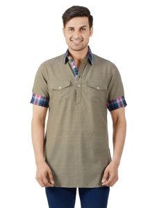 S9 Men Solid Men Half Sleeve Shirt Collar Kurta (Sand-Blue) S9-MK-18Z-A