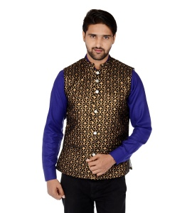 ForgeKo Black & Gold Nehru Jacket