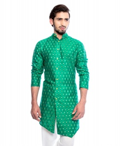S9 Men Green & Golden Jacquard Woven FULLY LINED Designer Kurta