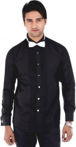 S9 Men's Solid Formal Black Shirt S9-FS-207