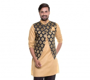 S9 Men Beige Kurta With Designer Jacket