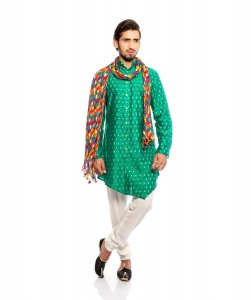 S9 Men Green & Golden Jacquard Woven Designer Kurta  with white Churidaar Pajama WITH STOLE