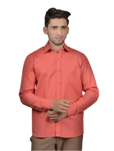S9 Men Solid Casual Cotton Blend Shirt For Men(Peach)  -S9-FS-256A