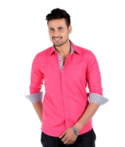 S9 Men Solid Semi Formal Casual Shirt For Men  (Rich Pink--Black) S9-FS-211E