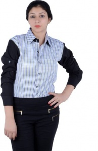 S9 Women's Checkered, Solid Casual Black, White, Blue, Green Shirt_S9-W-FS-2004_Black, White, Blue, Green