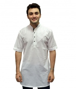 S9 Men White Self Design Straight Kurta