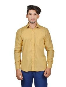 S9 Men Solid Casual Cotton Blend Shirt For Men(Beige)  -S9-FS-256B