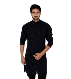 S9 Men Black & Blue Dot Solid Straight Kurta