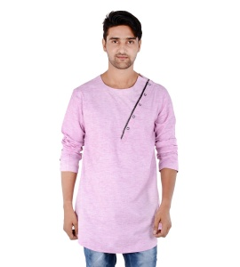 S9 Men Pink Self Textured Angrakha Kurta