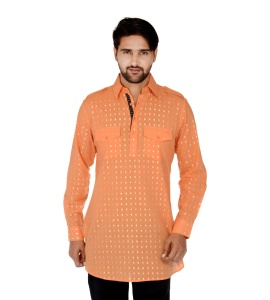 S9 Men Orange & Silver Dot Pathani Kurta