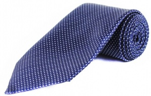 Uni Carress Polka Print Men's Tie (blue white) RA-TY-104A